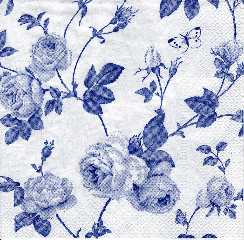 Decoupage 20x Lunch Paper Napkins Serviettes Party Indigo cotton blue birds
