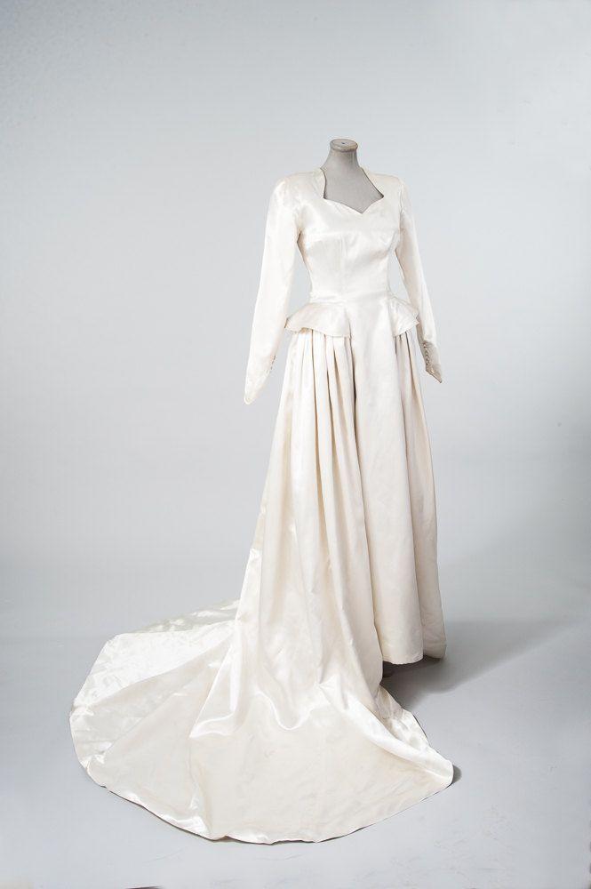 1940s Liquid Satin Wedding Dress Vintage Ivory by missfarfalla | The ...