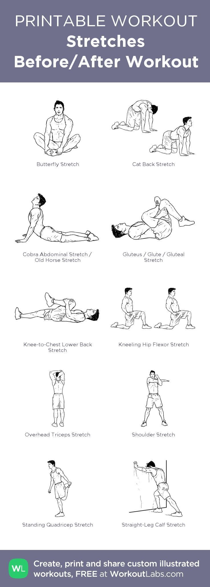 Stretches Before/After Workout my visual workout