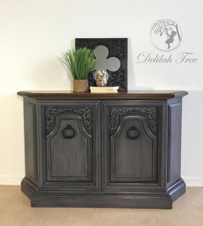 Cabinet In Driftwood & Pitch Black Glaze
