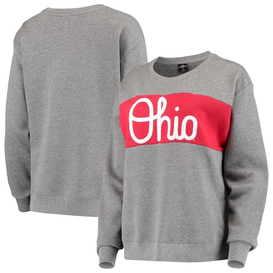 Women's Heathered Gray/Scarlet Ohio State Buckeyes Superstar Colorblocked Crew Sweatshirt