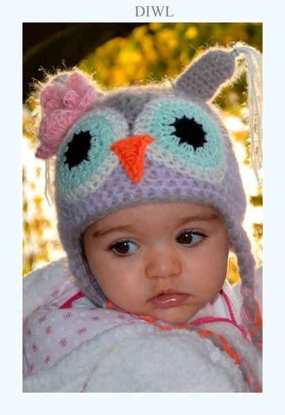Crochet Winter Owl Hat PDF Pattern Häkelanleitungen - ❤ Baby Kinder ...
