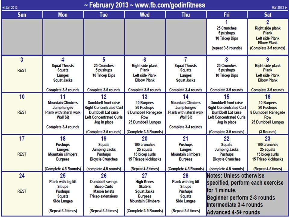 Faith Fitness And Nutrition Feb Workout Calendar  Fitness