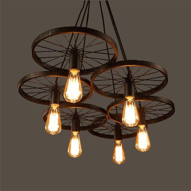Loft metal wheel pendant light vintage industrial lighting american aisle lights lamp b