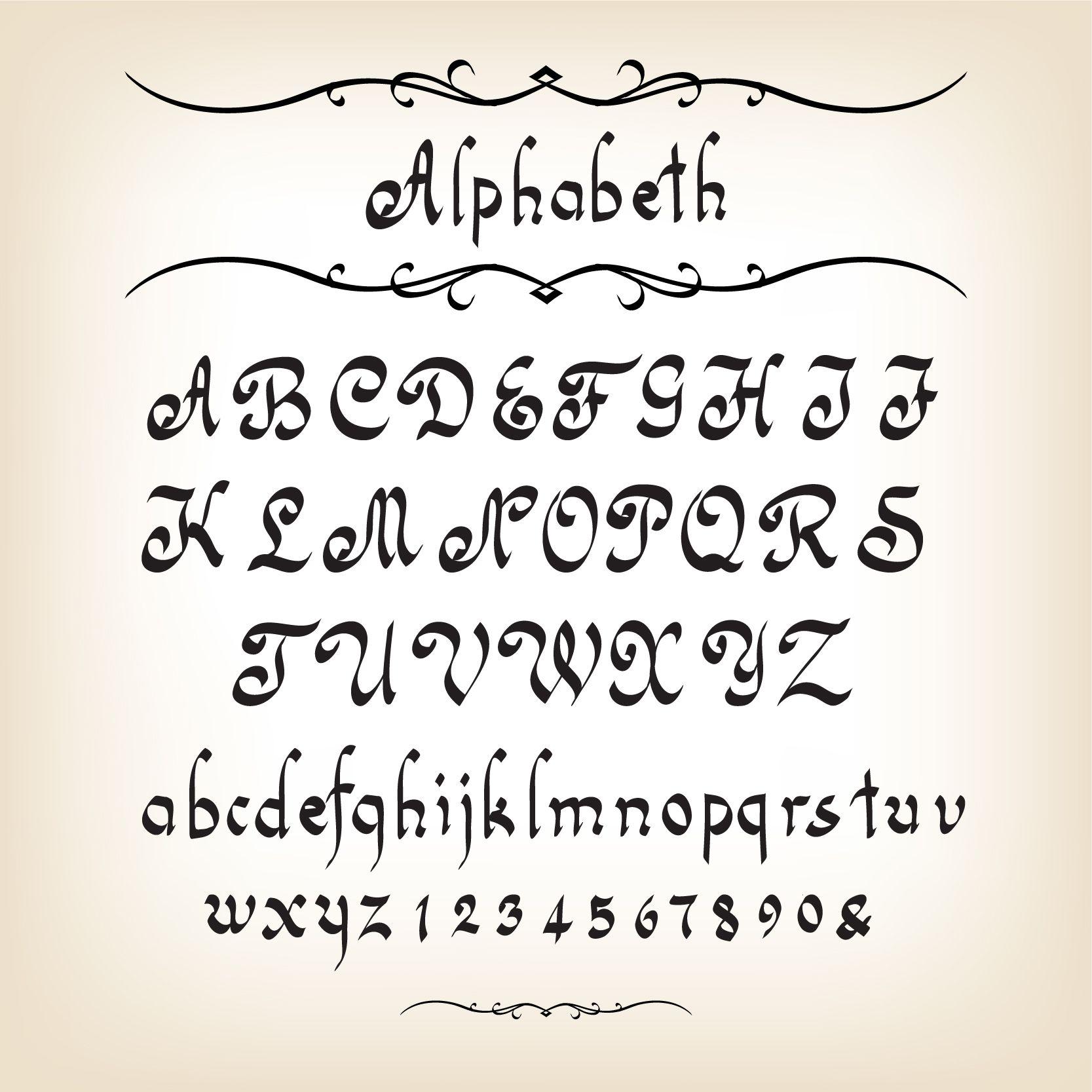 Cute alphabet fonts hand drawn alphabets design vector