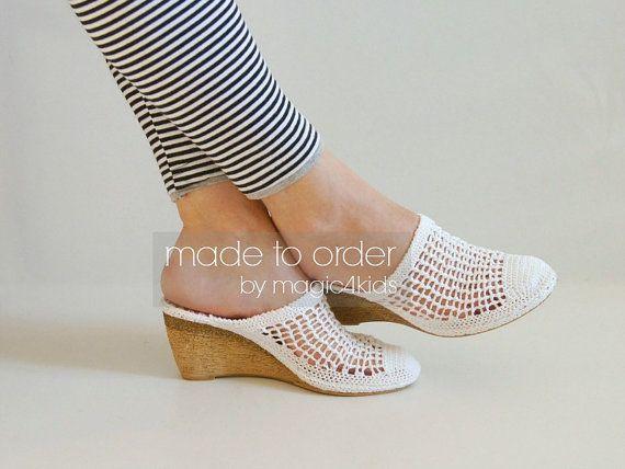 Crochet wedge sandals - women crochet sandals, made to order, crochet sandals with soles, street sandals, wedges