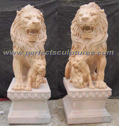 Stone Granite Marble Lion For Garden Sculpture Animal Statue (SY D039)