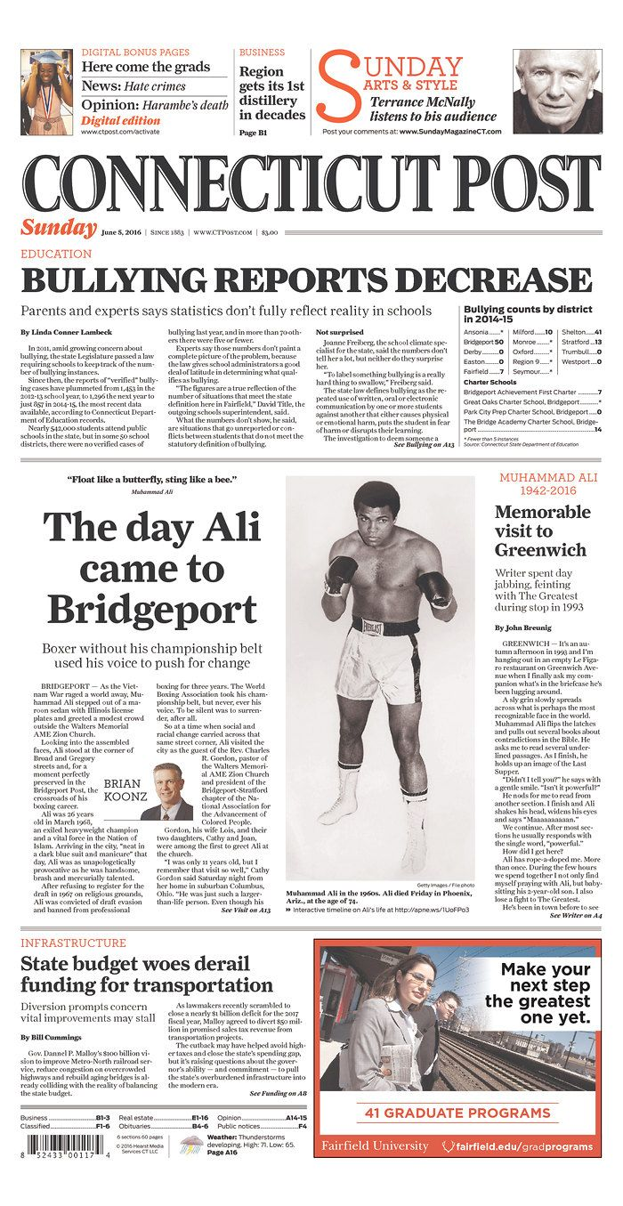 Muhammad Ali remembered - Connecticut Post Front Page | Newseum  #Ali #MuhammadAli #TheGreatest #GOAT #Boxing