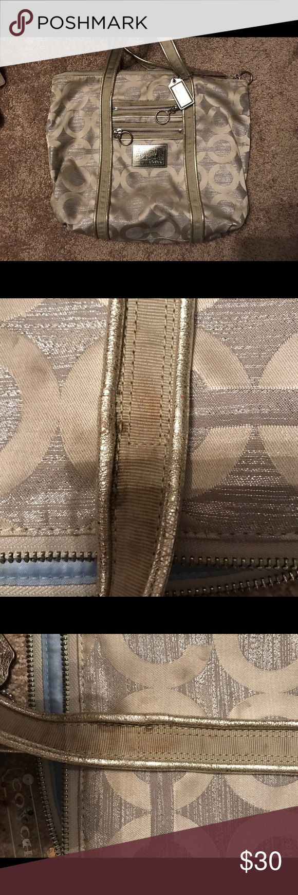 Coach Poppy Silver Purse Coach silver purse. Dirty, needs good cleaning. Has spots on handles and on inside lining. Coach Bags Shoulder Bags