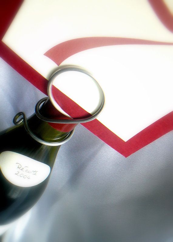 Silver Wine Bottle Table Sign  Holders by HomesAndWeddings on Etsy, $75.00