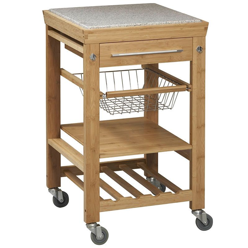 Small Space Bamboo Rolling Kitchen Cart With Granite Top Linon Home Decor Remodel