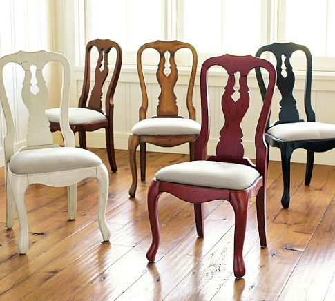 Queen Anne Upholstered Chair Pottery Barn I Have Chairs Like This In 1980s Pickled Oak Time To Paint T Upholstered Chairs Dining Room Chairs Dining Chairs