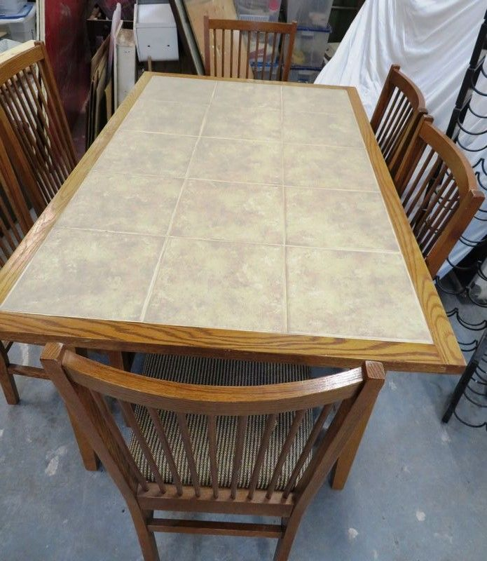 kitchen table with 6 chairs and wine racks oak and tile