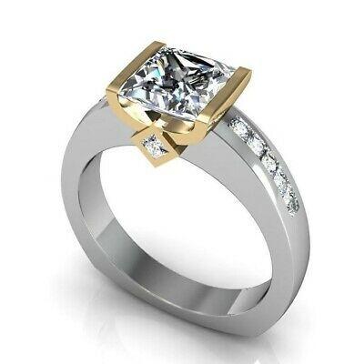 Zweifarbiger Ring aus 925er Silber, massiv 14 Karat Gold, geometrischer Diamantring für Damen   – sd