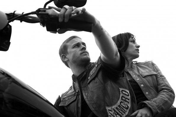 Sons of Anarchy Charlie Hunnam Jackson Jax Teller haircut photos season 4 on FX Promotional SOA photos with Maggie Siff