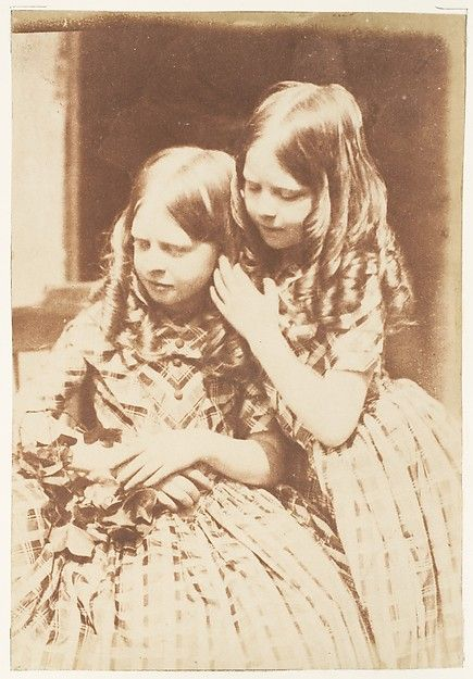 Two young girls. Very early 1840's.