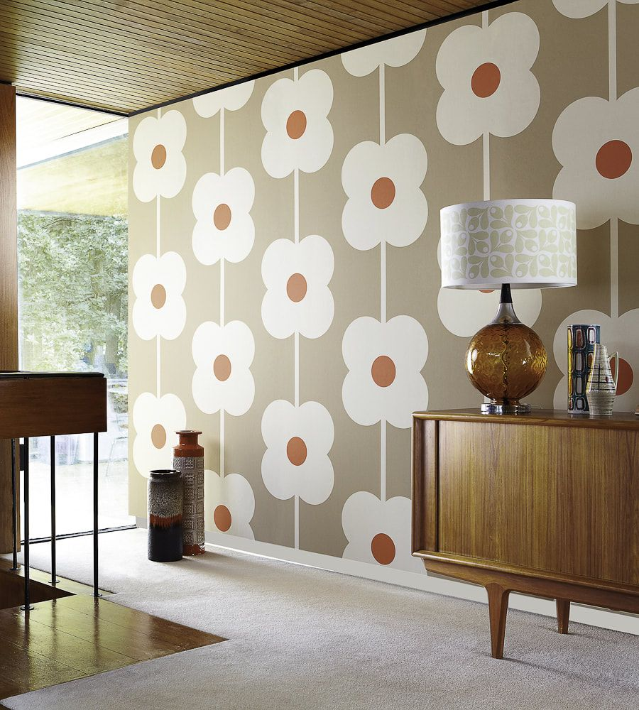Orla Kiely Giant Abacus Flower Wallpaper Wallpaper