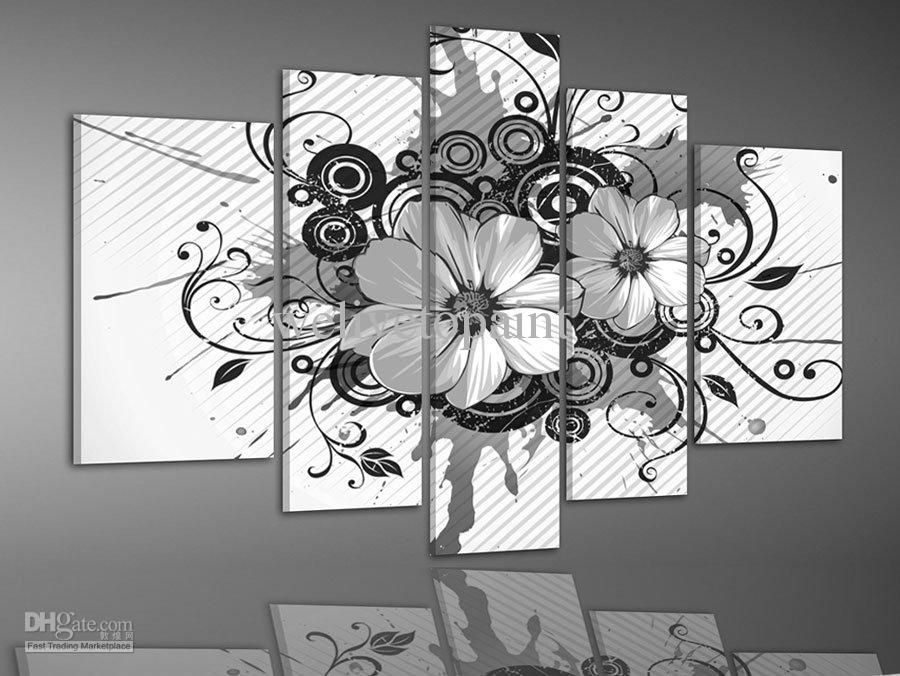 Wholesale framed 5 panels high end black and white wall decor flower wholesale framed 5 panels high end black and white wall decor flower oil paintings canvas wall art home decor free shipping 1790set dhgate mightylinksfo