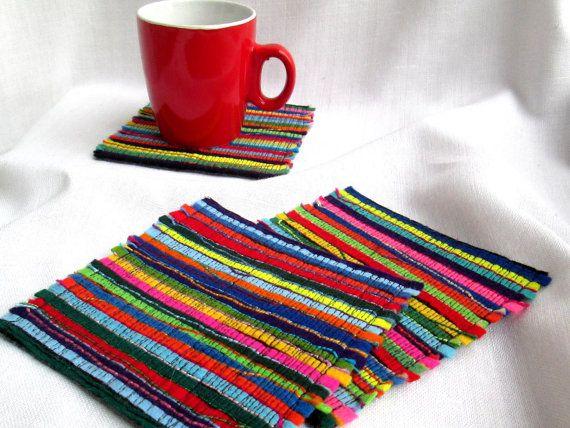2 Felt Drink Coasters. Multicolor Cap Coasters by SvitLoShop