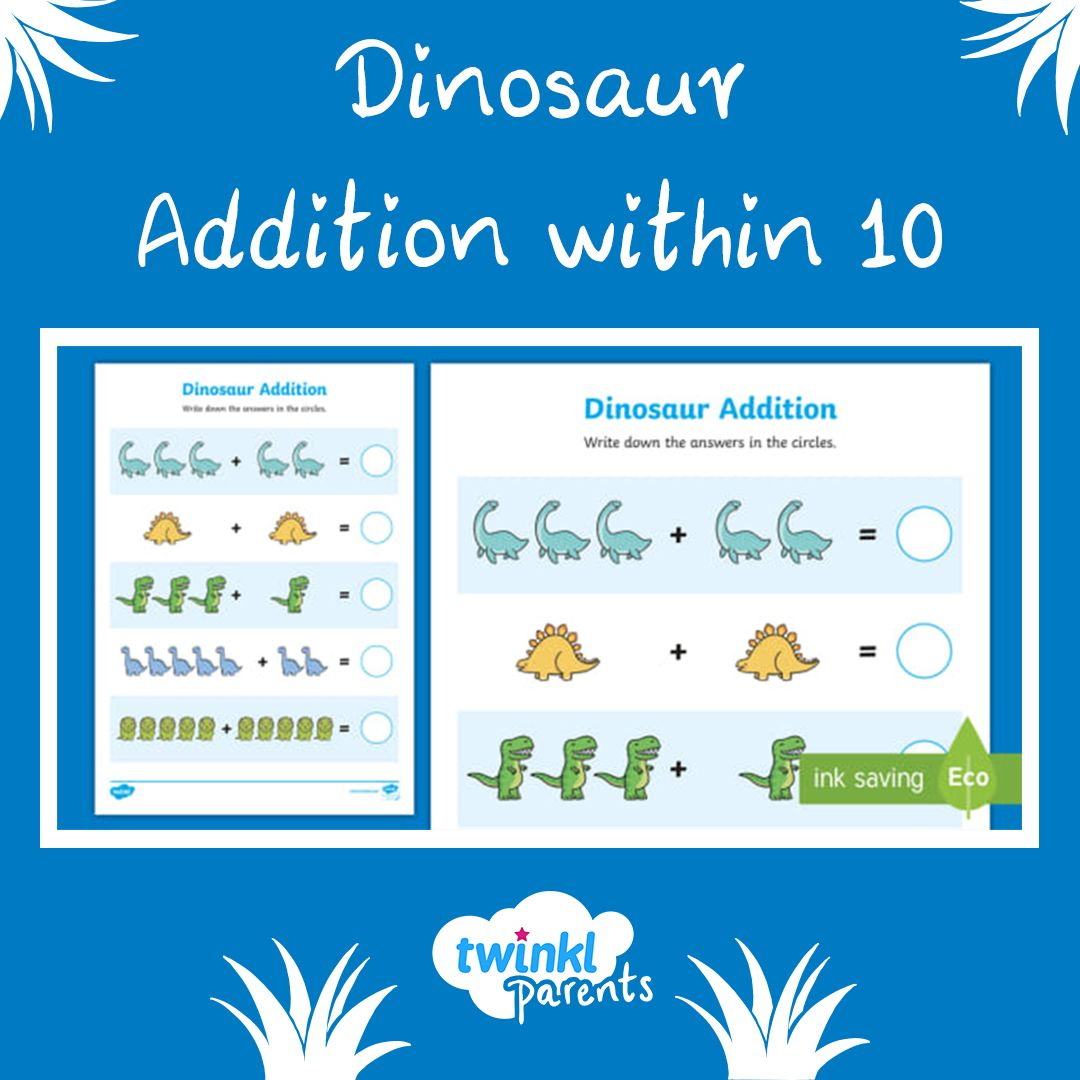A Lovely Dinosaur Themed Activity That Reinforces Addition