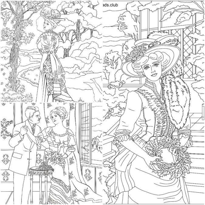 coloriage femmes victorienne pour adulte imprimer image noirblanc coloriez ce dessin anti stress et - Coloriage Pour Adulte Imprimer
