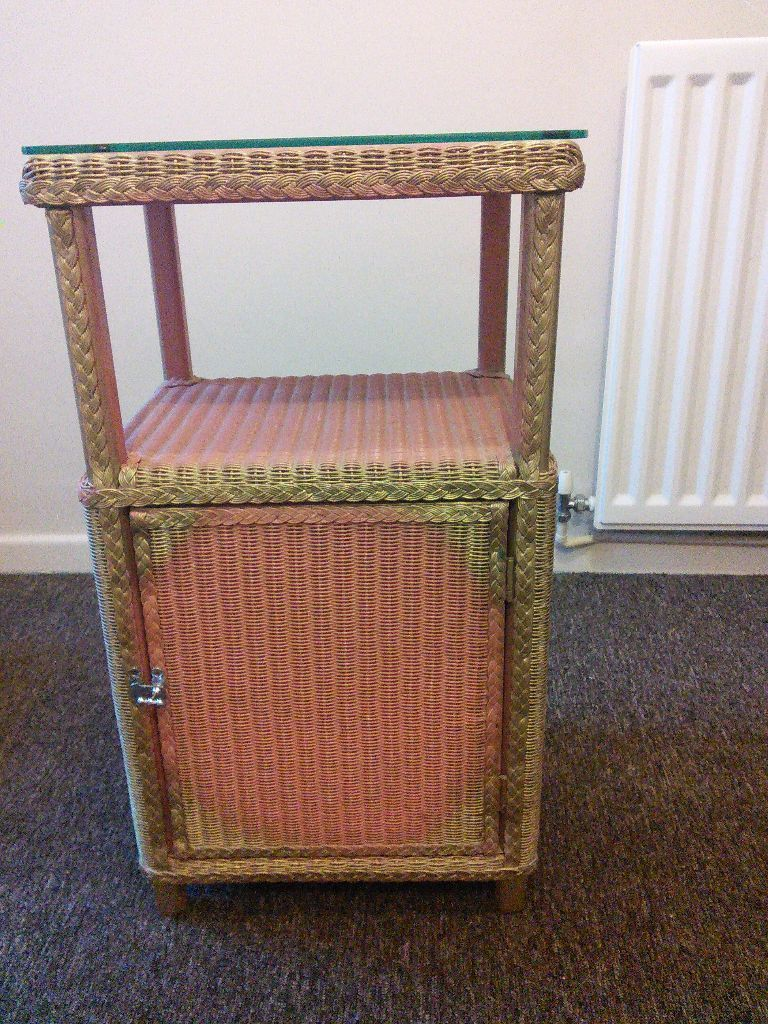 Pretty Lloyd Loom type cabinet - pink with glass top | Manchester ...