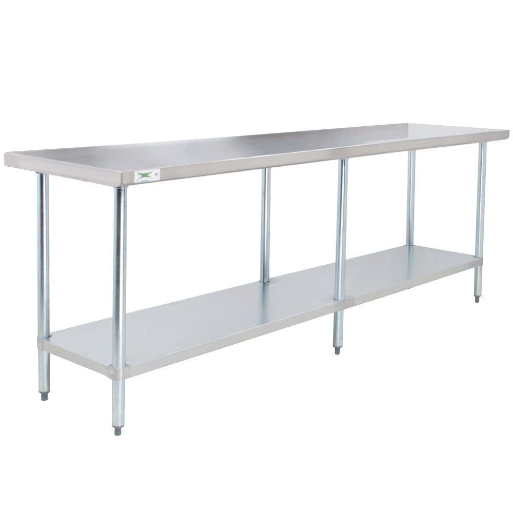 Regency 24 X 96 18 Gauge 304 Stainless Steel Commercial Work Table With Galvanized Legs And Undershelf Stainless Steel Work Table Stainless Steel Kitchen Cabinets Stainless Steel Prep Table