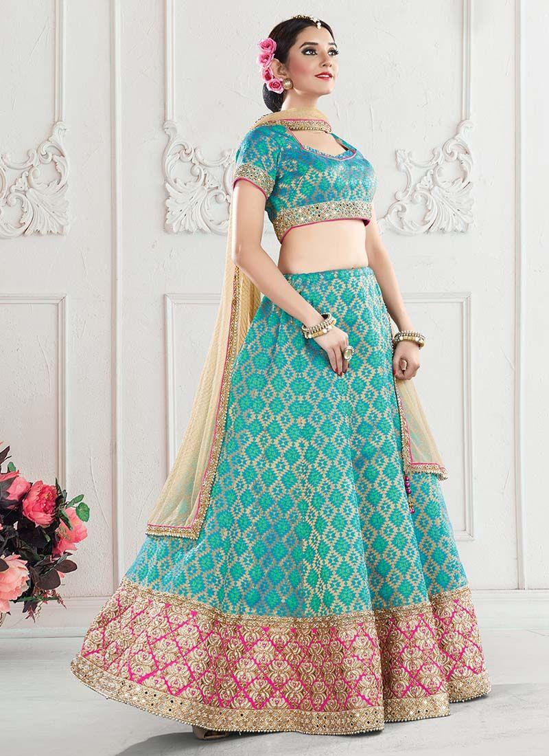 84c2494d3a Buy Turquoise Blue Umbrella Lehenga Choli, Jacquard, umbrella ...