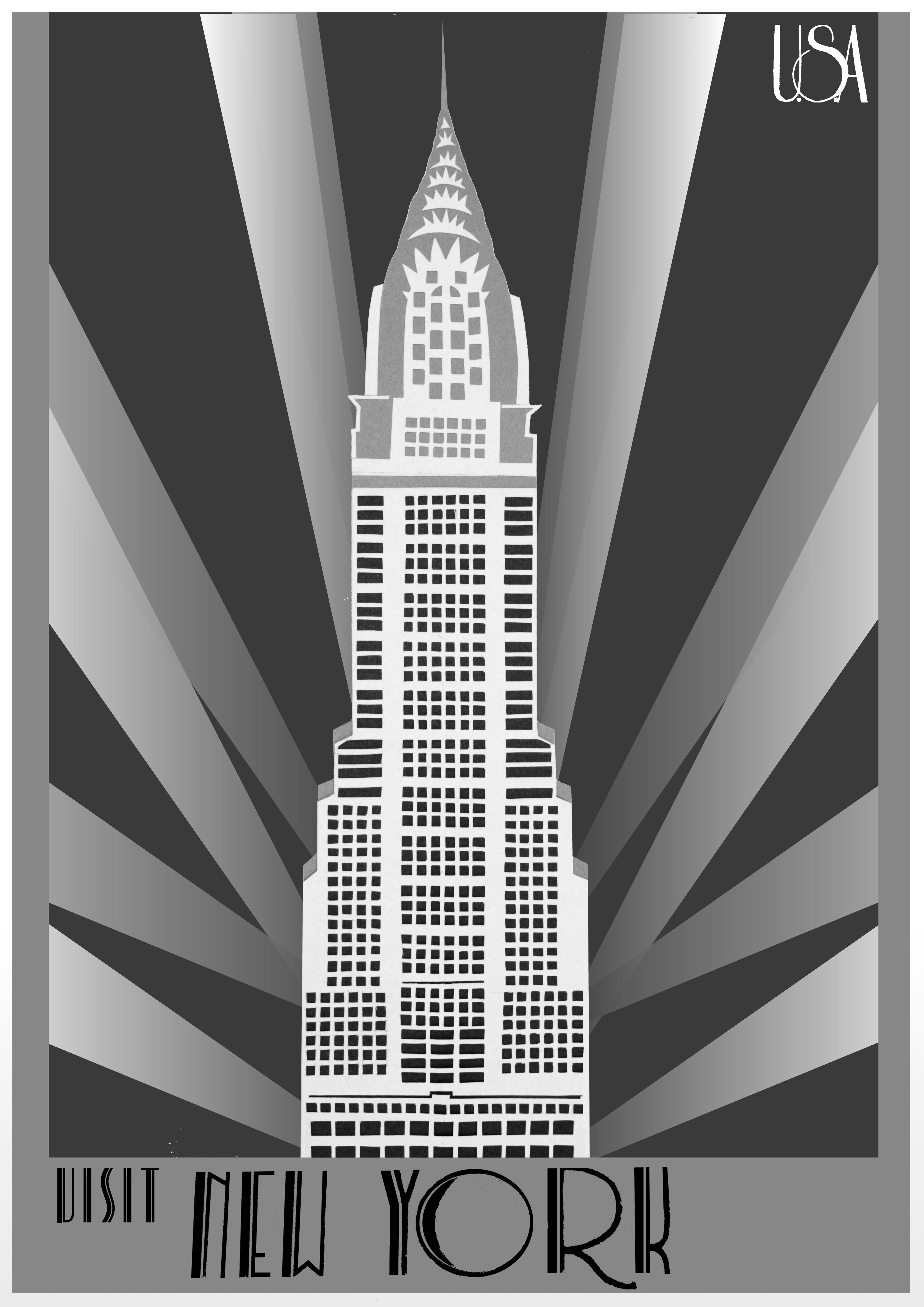 New York Art Deco Travel Poster With Images Art Deco Buildings