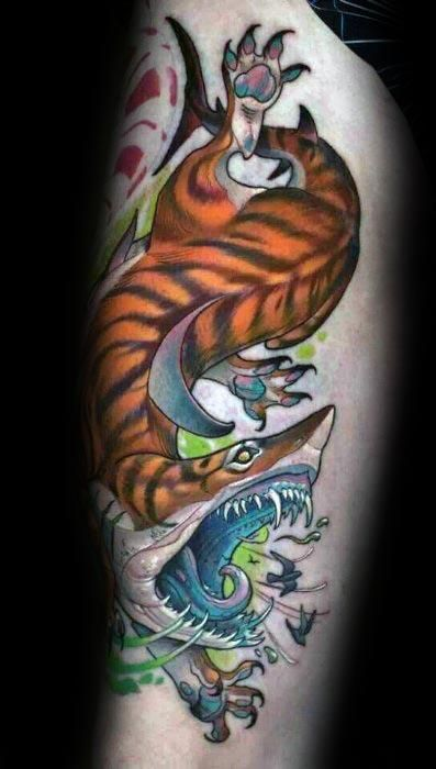 7ca985e94 Discover a sharp bite of ink inspiration with the top 50 best tiger shark tattoo  designs for men. Explore cool sea tiger ink ideas with stripes.