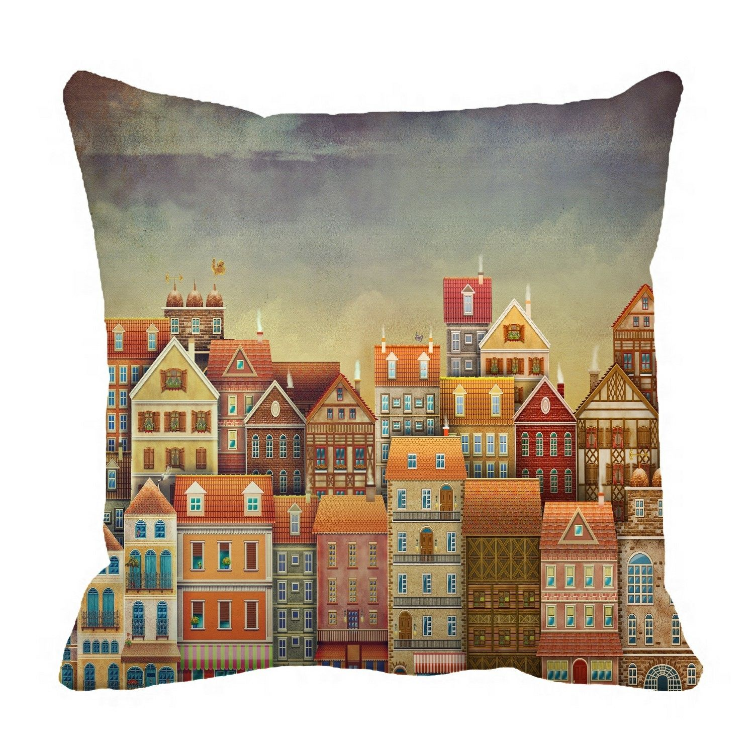 Illustration cute houses sky Pillow?Case?Pillow?Cover?Cushion?Cover