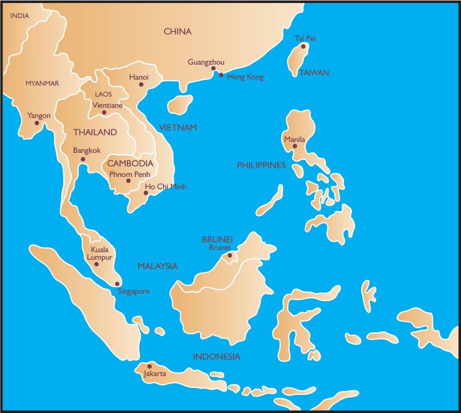 Map Of Southeast Asia Japan And Malaysia.China Japan North Korea South Korea Mongolia Russia Taiwan