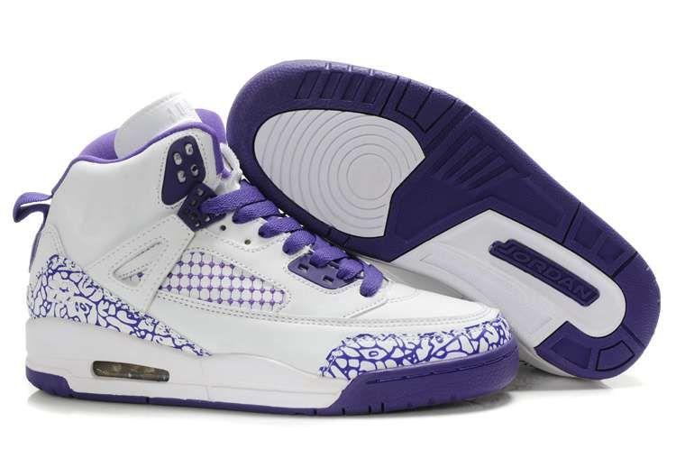Womens Air Jordan 3.5 Embroidery White Purple Shoes
