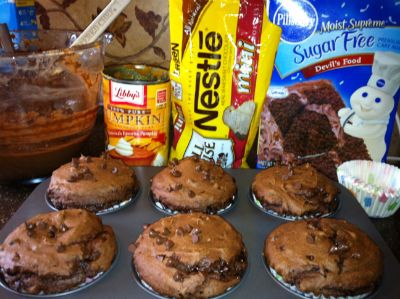 Made these tonight, they are super moist and you would never know they have pumpkin in them. They would take care of any chocolate carving and for another point you could add frosting. 3 Ingredient Chocolate Muffins (With Secret Ingredient 1 box of Sugar Free Devils Food Cake Mix 1 15 oz Can of pumpkin 1 cup of water 3/4 cup of chocolate chips Makes 24 cupcakes 1 ww point each
