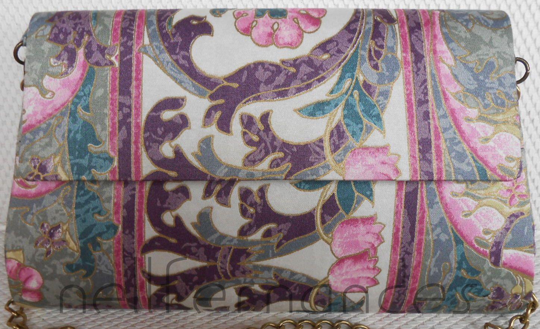Carteira nellfernandes trapézio em algodão italiano, em tons de rosa e cinza.