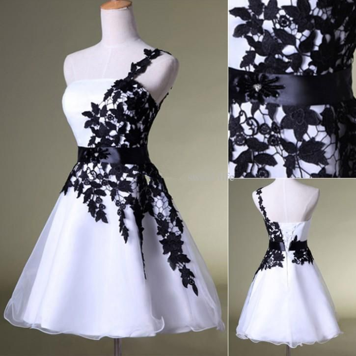 ff3cdf84a010 Hot Sales vintage Black Lace White Organza Short Prom Dresses Homecoming  Dress