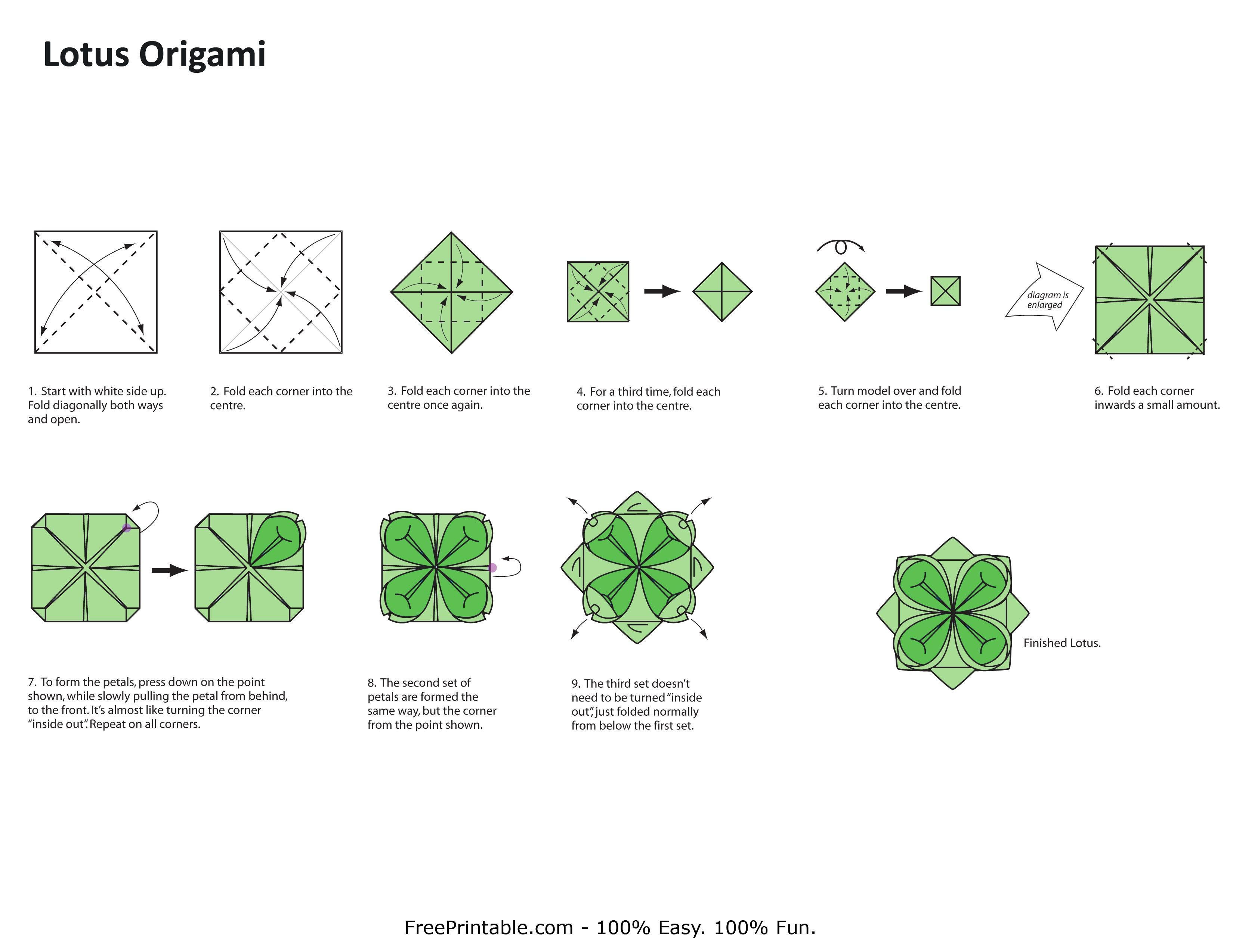 origami flower instruction diagram citroen c4 boot wiring lotus taiwan flowers paper crafts step by instructions