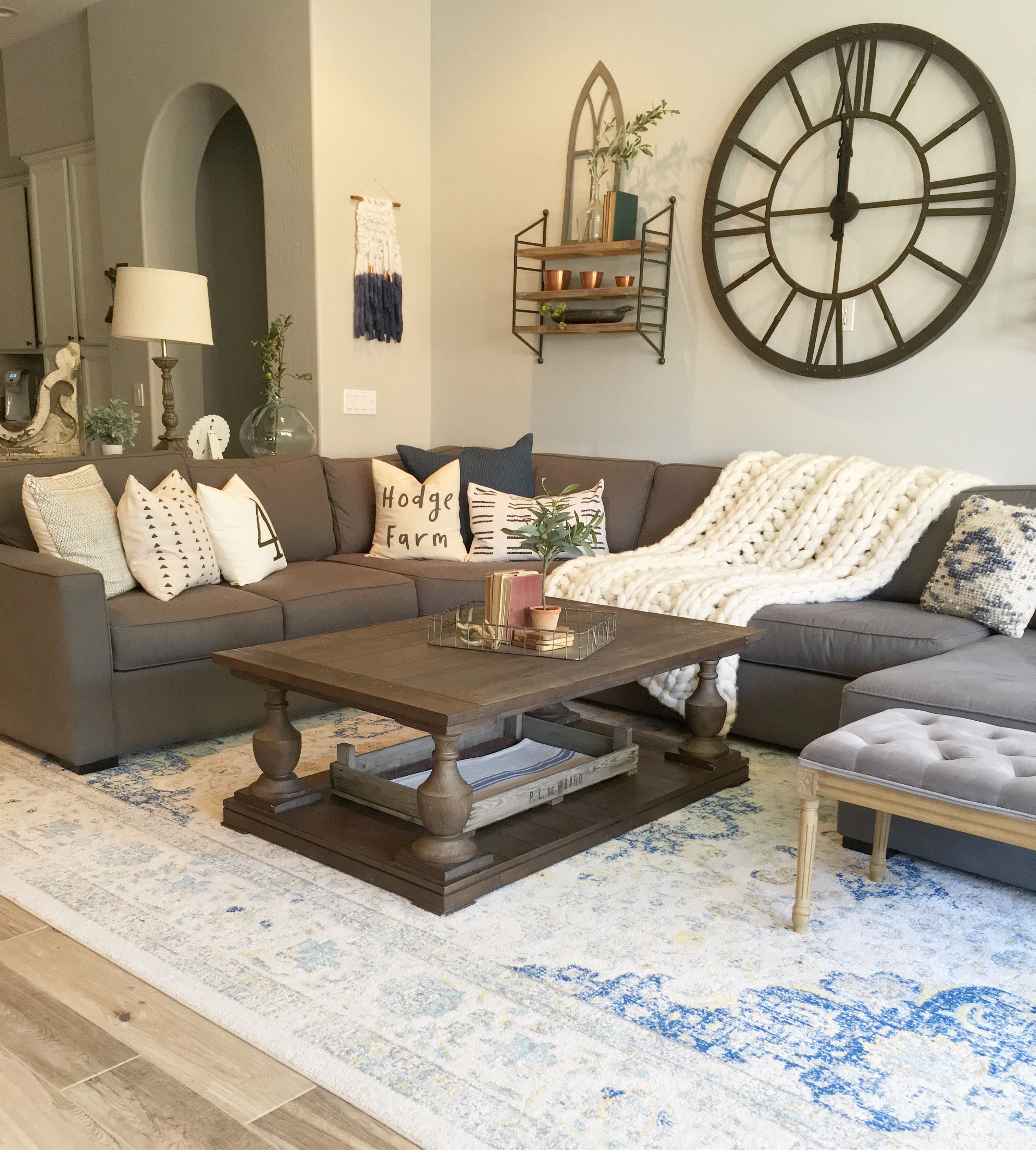 A Large Living Room To Socialise In: Modern Farmhouse Living Room Decor. Large Wall Clock