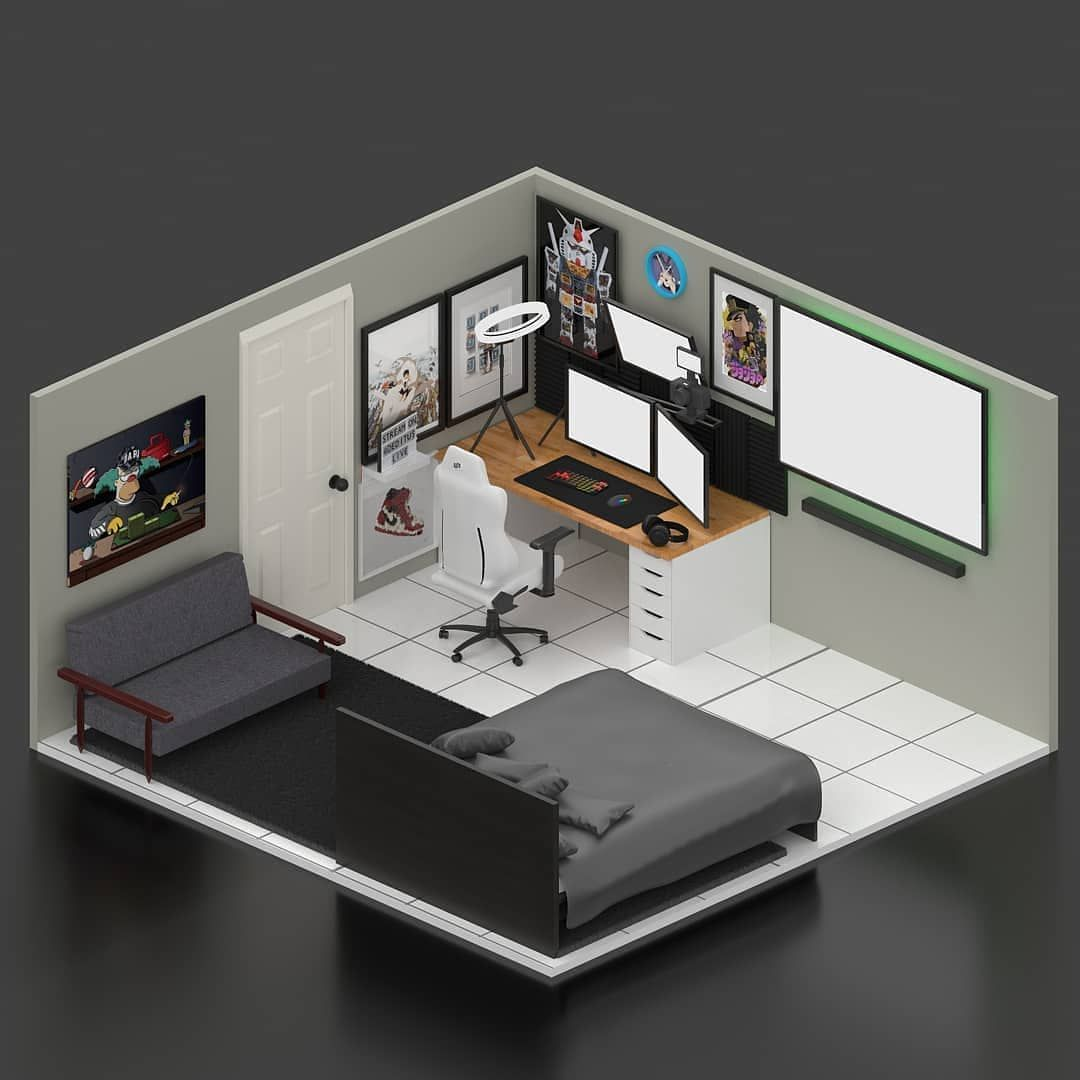 Techguidehq On Instagram Awesome Room For Both Streaming And Chilling How Many Inches Does Your Tv Have Follow Techguidehq For In 2020 Home Office Setup Game Room Design Gaming Room Setup