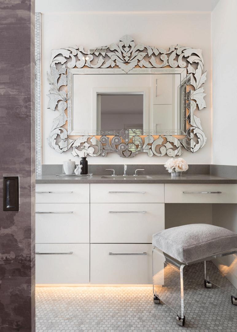 Unique Mirrored Frame http://freshome.com/bathroom-mirror-ideas ...