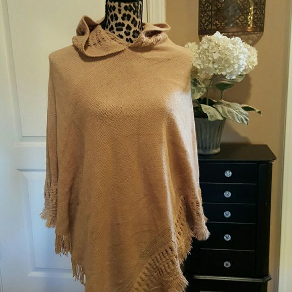 NWT Hooded Poncho Warm and stylish Poncho with hood and fringe. Mix It Sweaters Shrugs & Ponchos