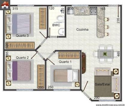 Resultado de imagen para casa 3 quartos dise o de casas for Ver planos de casas pequenas