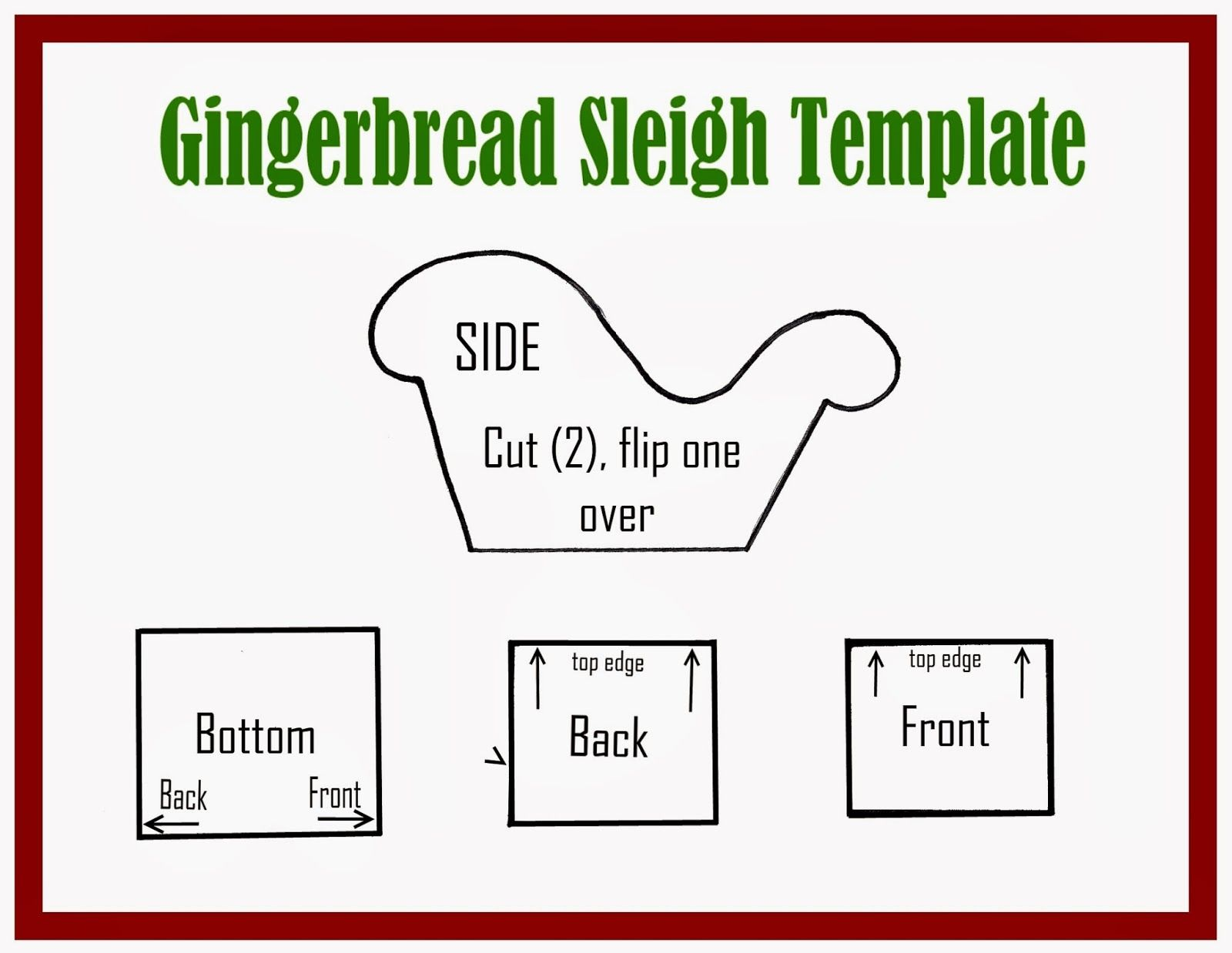 Gingerbread Sleigh Tutorial and Template Gingerbread