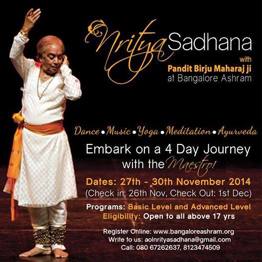 """Dance is the hidden language of the soul."" - M.Graham Come discover it!  Nritya Sadhana with Pundit Birju Maharaj Register: tiny.cc/nritya"