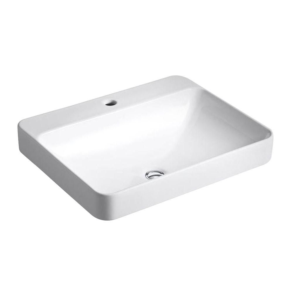 Kohler Vox Vitreous China Vessel Sink In White With Overflow Drain K 2660 1 0 Rectangular Sink