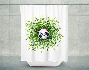 Panda Love Shower Curtain Geometrical Abstract Panda Bathroo