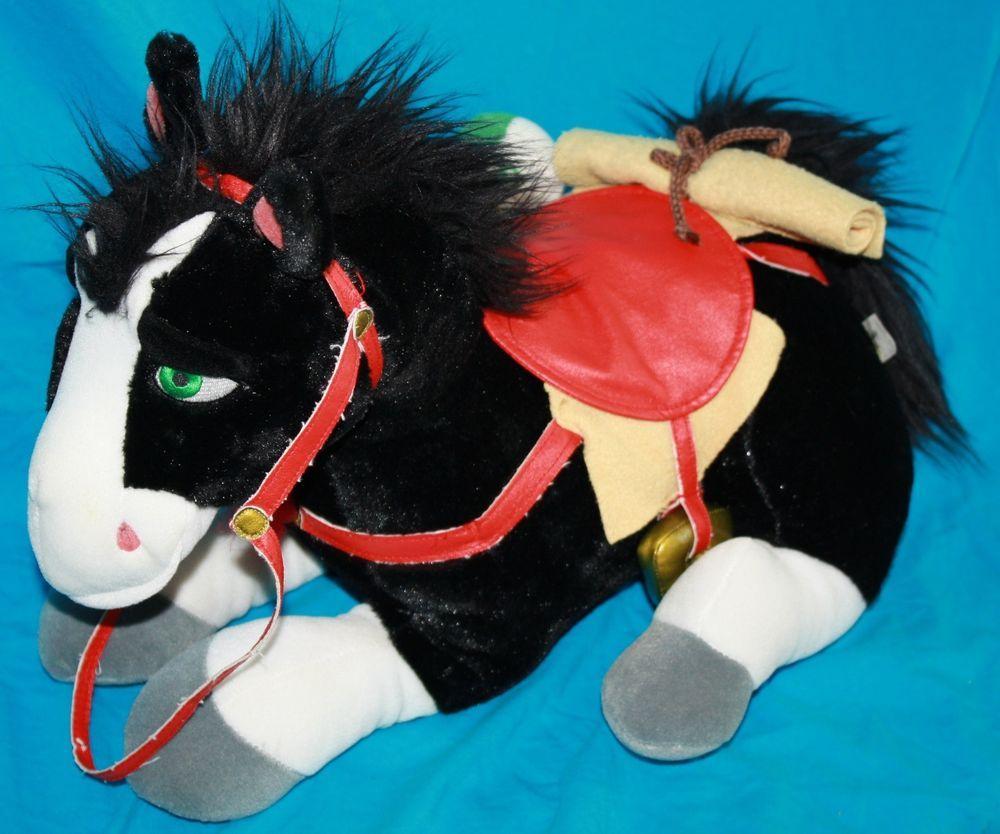 Walt Disney Lying Mulan Pony Black Horse Plush Khan 18 Stuffed