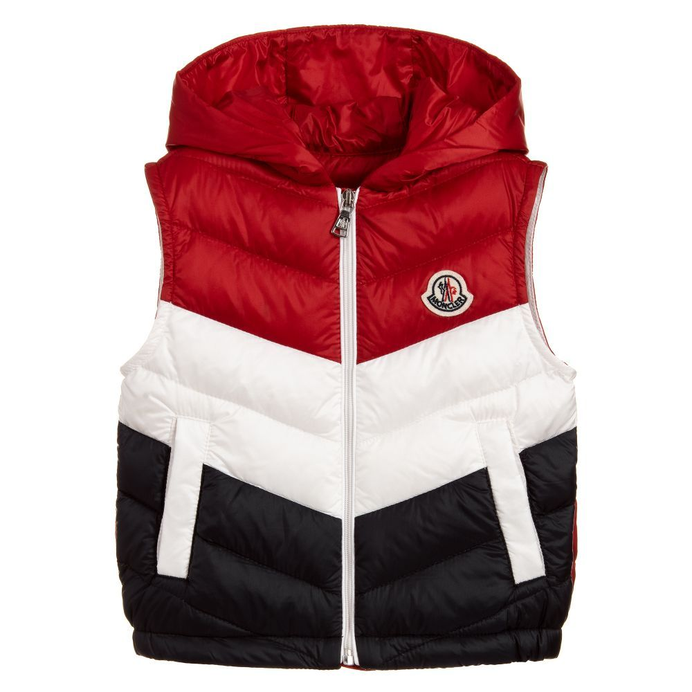 cf78b6f47 Red, white and navy blue gilet for little boys by luxury brand Moncler. This
