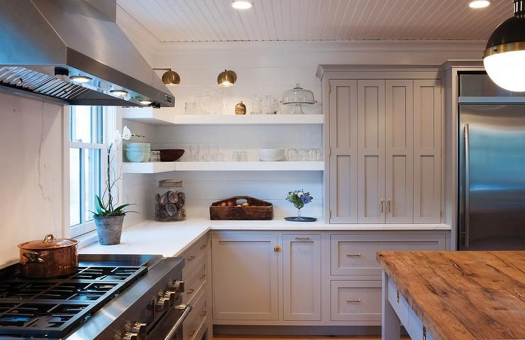 White And Gray Kitchen Features Light Cabinets Painted Farrow Ball Dove Tale Paired With Quartz Countertops A Shiplap Backsplash
