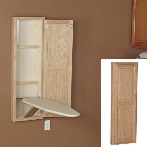 Attractive Household Essentials Oak Stowaway In Wall Ironing Board Cabinet Unit